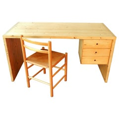 Pine Wood Writing Desk Set by Ate Van Apeldoorn for Houtwerk Hattem