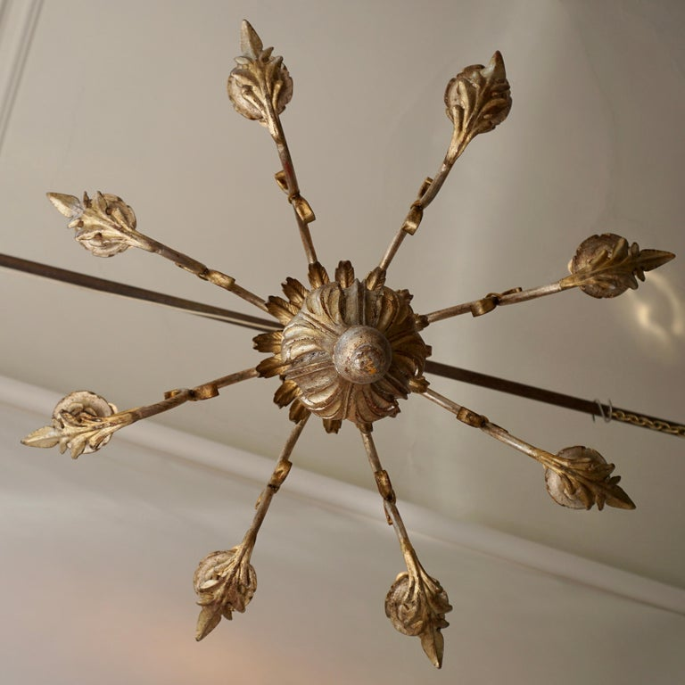 Pineapple Chandelier in Lacquered Wood and Gilt Brass, 1950s For Sale 4