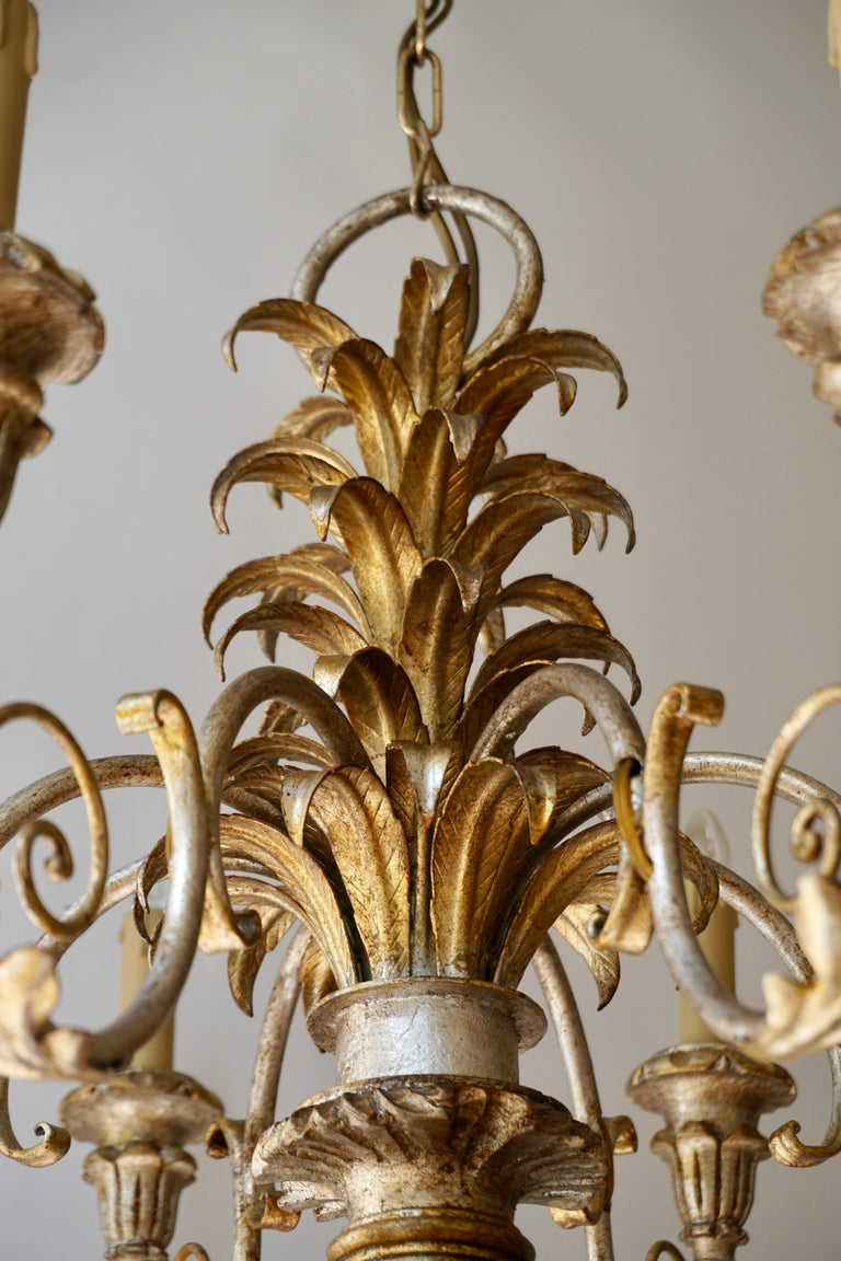 Pineapple Chandelier in Lacquered Wood and Gilt Brass, 1950s For Sale 6