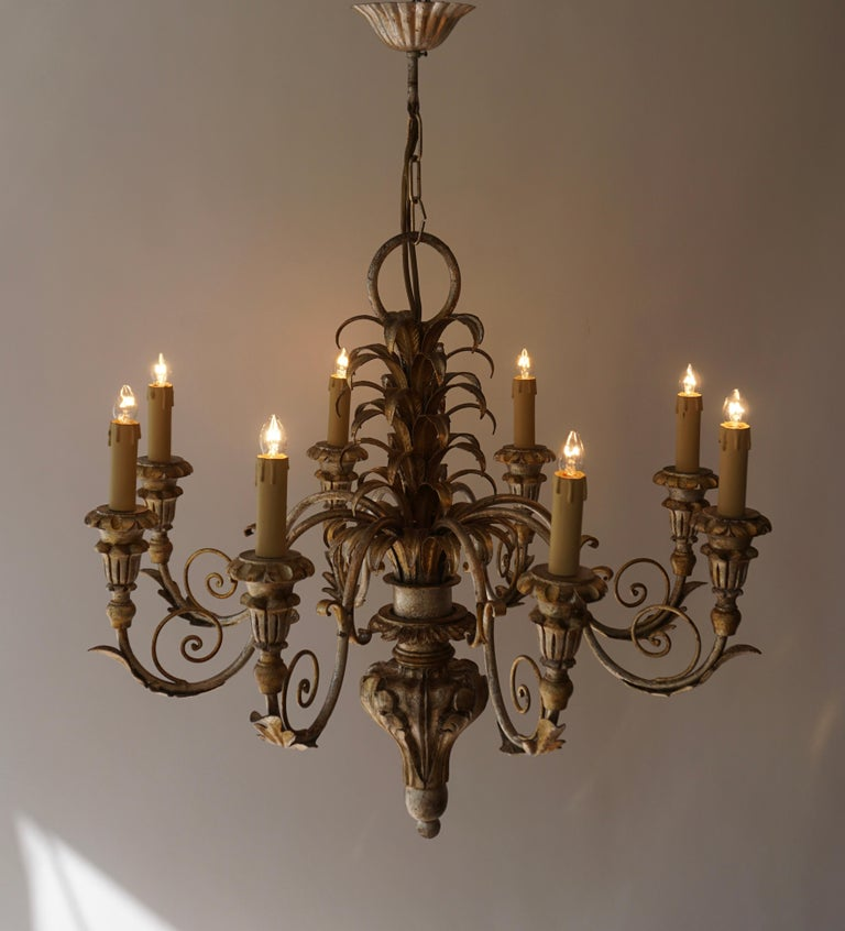 20th Century Pineapple Chandelier in Lacquered Wood and Gilt Brass, 1950s For Sale
