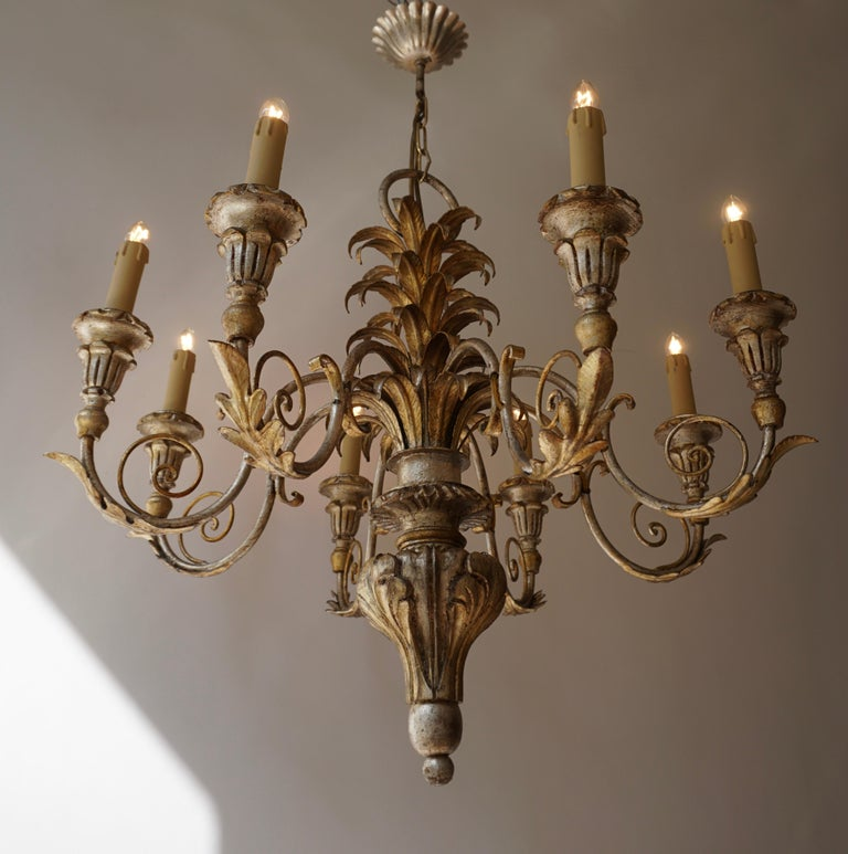 Pineapple Chandelier in Lacquered Wood and Gilt Brass, 1950s For Sale 1