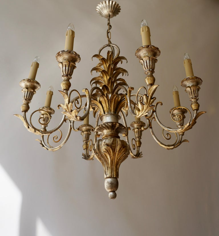 Pineapple Chandelier in Lacquered Wood and Gilt Brass, 1950s For Sale 2
