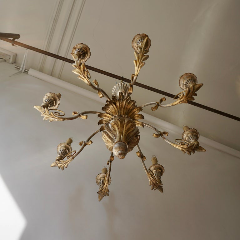 Pineapple Chandelier in Lacquered Wood and Gilt Brass, 1950s For Sale 3