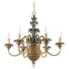 Pineapple Chandelier in Lacquered Wood and Gilt Brass, 1950s