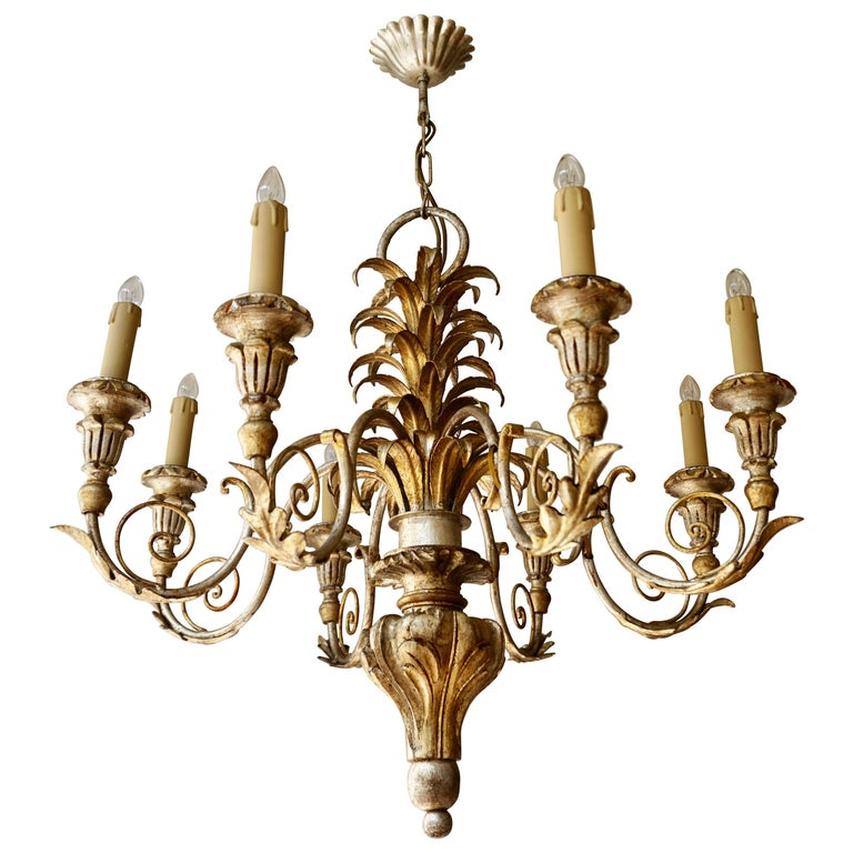Pineapple Chandelier in Lacquered Wood and Gilt Brass, 1950s For Sale