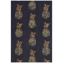 'Pineapple' Contemporary, Traditional Fabric in Gold on Charcoal