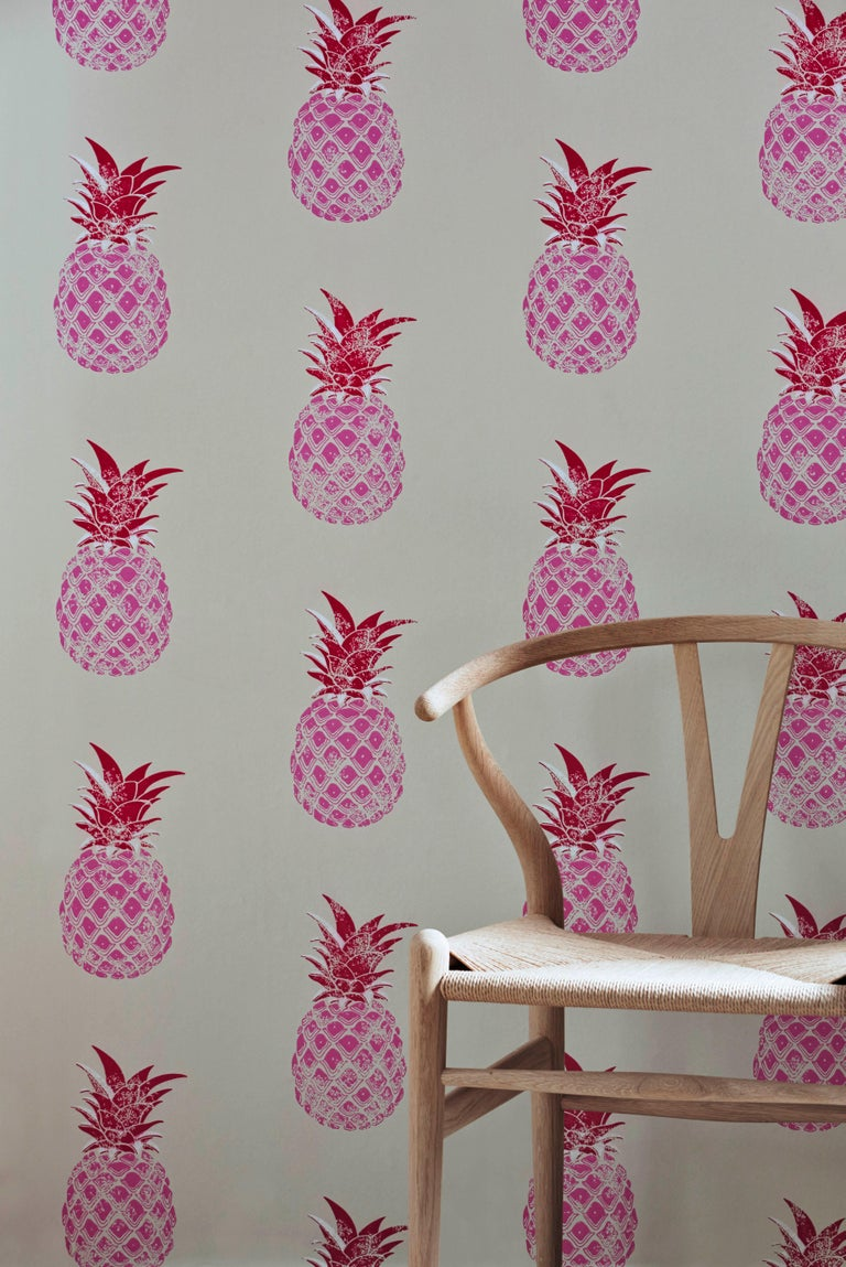 British 'Pineapple' Contemporary, Traditional Wallpaper in Red/Pink For Sale