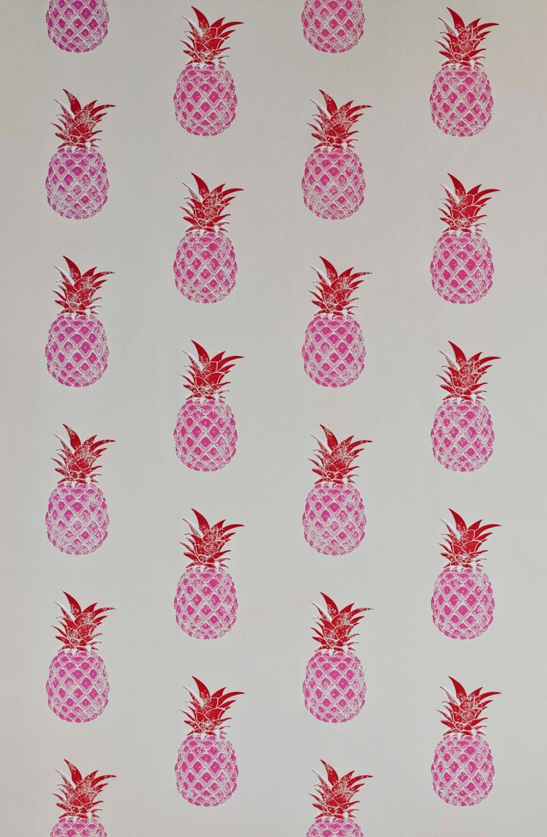 'Pineapple' Contemporary, Traditional Wallpaper in Red/Pink In New Condition For Sale In Pewsey, Wiltshire