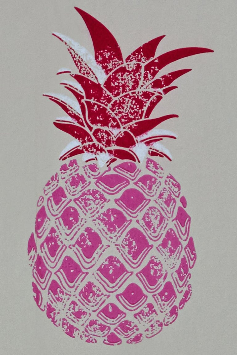 Paper 'Pineapple' Contemporary, Traditional Wallpaper in Red/Pink For Sale