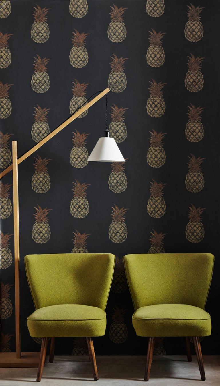 'Pineapple' Contemporary, Traditional Wallpaper in Red/Pink For Sale 1