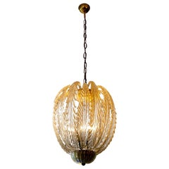 Pineapple Golden Glass Pendant Light, circa 1920s-1940s, Seguso, Murano
