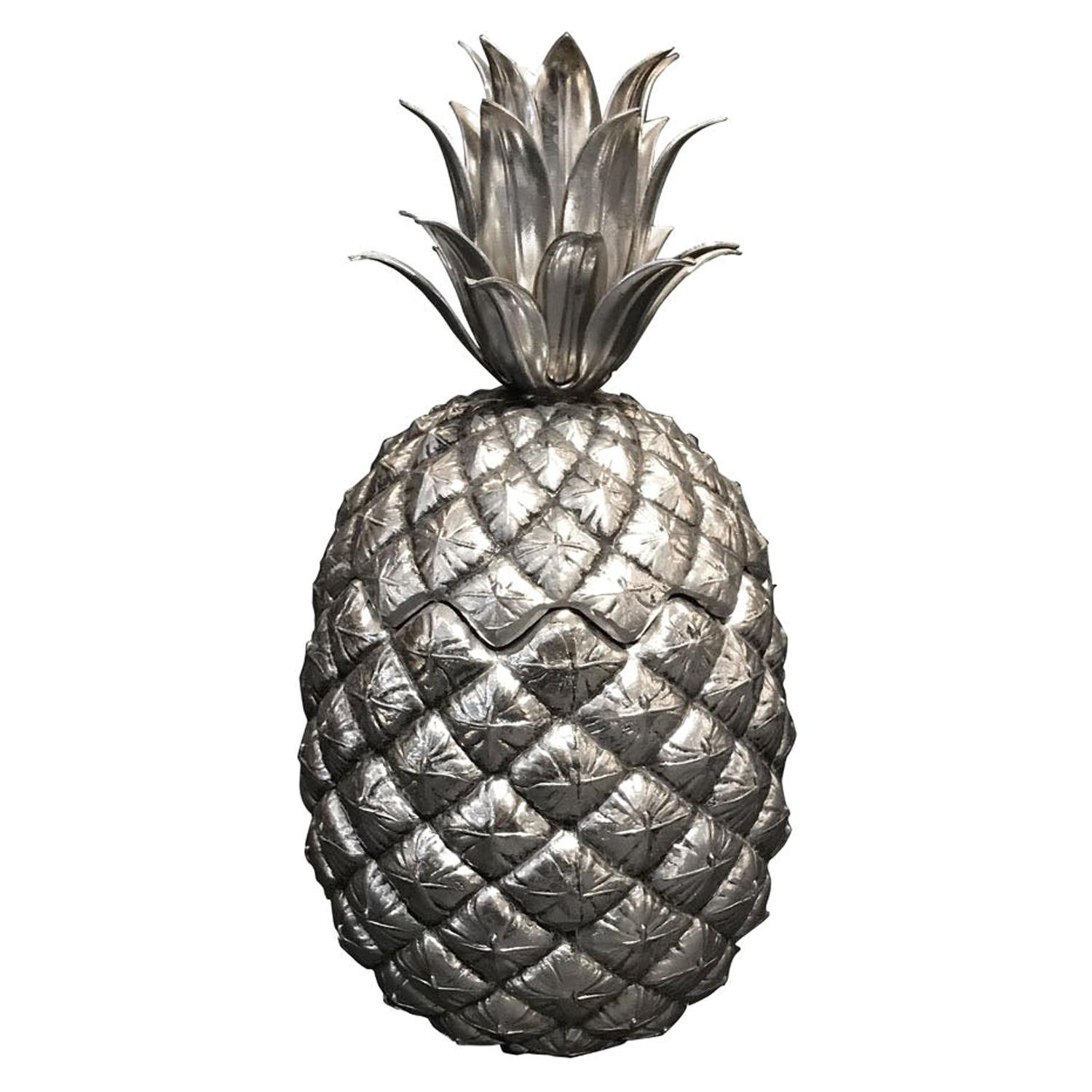 Pineapple Ice Bucket Designed by Mauro Manetti, Silver Plated, circa 1960