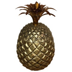 Pineapple Ice Bucket with Gold Wash Over Silver Plate and Copper Enameled Steel