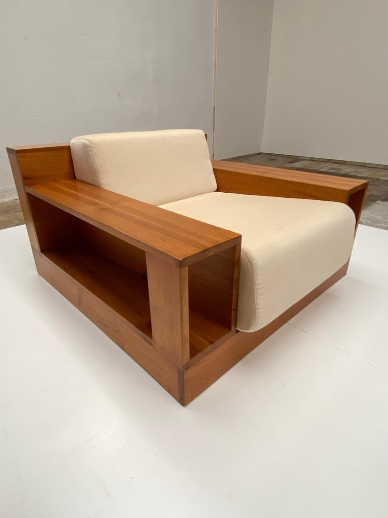 Pinewood and Mohair Lounge Chairs and Table by Gianfranco Fini, Poltronova, 1974 6