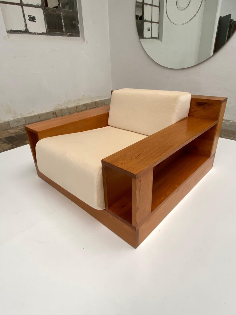 Pinewood and Mohair Lounge Chairs and Table by Gianfranco Fini, Poltronova, 1974 7