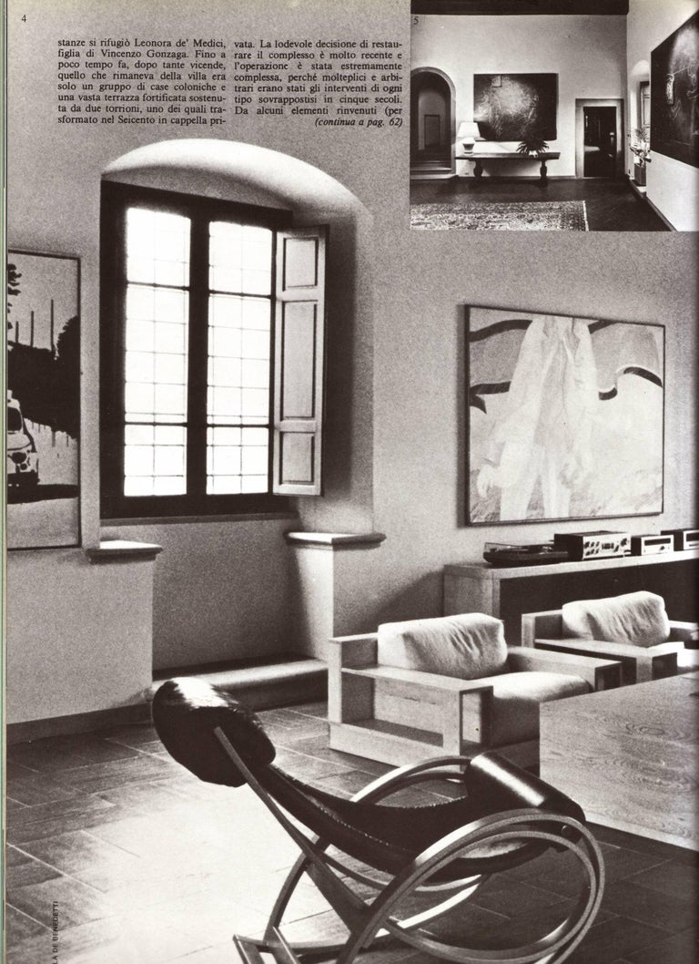 Late 20th Century Pinewood and Mohair Lounge Chairs and Table by Gianfranco Fini, Poltronova, 1974