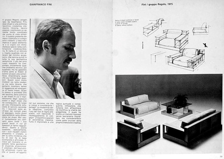 Pinewood and Mohair Lounge Chairs and Table by Gianfranco Fini, Poltronova, 1974 12