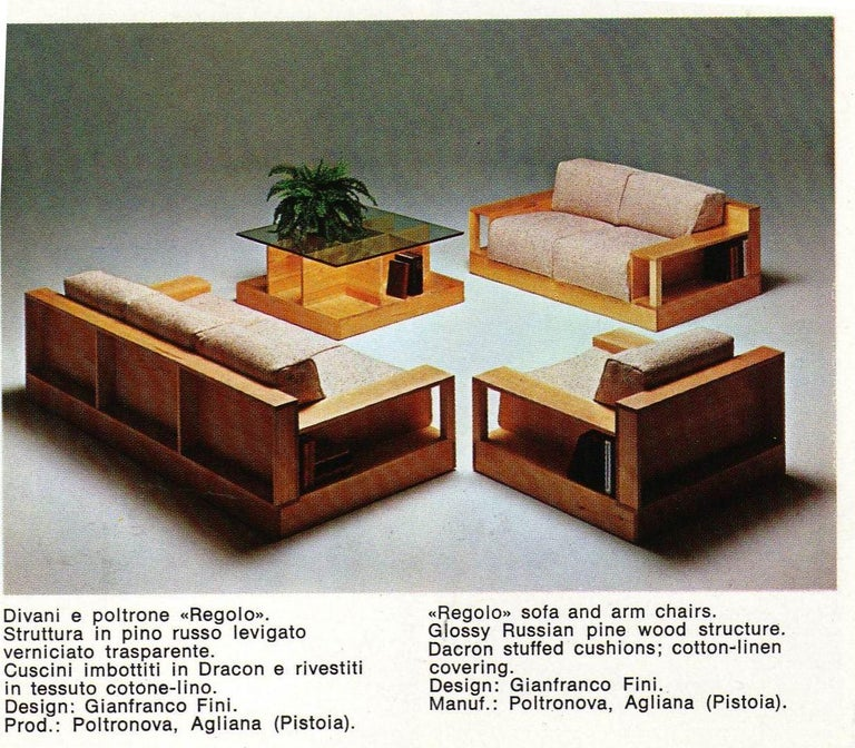 Fabulous and super rare pair of 'Regolo' solid pine wood lounge chairs with mohair upholstery complete with matching 'regolo' pine wood coffee table designed by GianFranco Fini for Poltronova, Italy in 1974. One of the chairs still retains it's