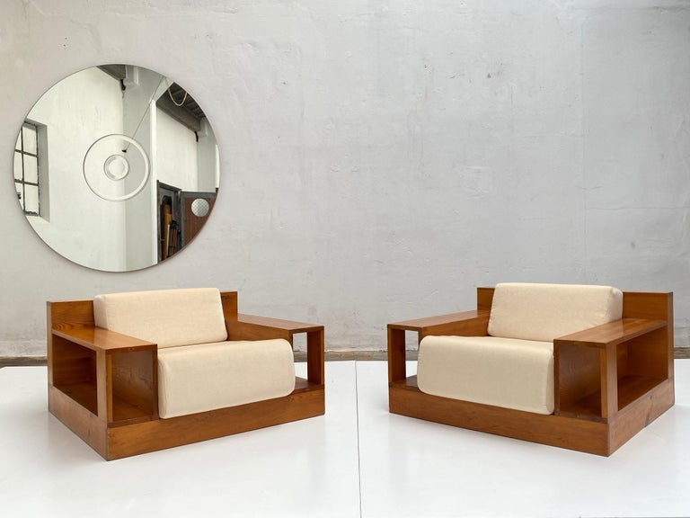 Pinewood and Mohair Lounge Chairs and Table by Gianfranco Fini, Poltronova, 1974 In Good Condition In bergen op zoom, NL