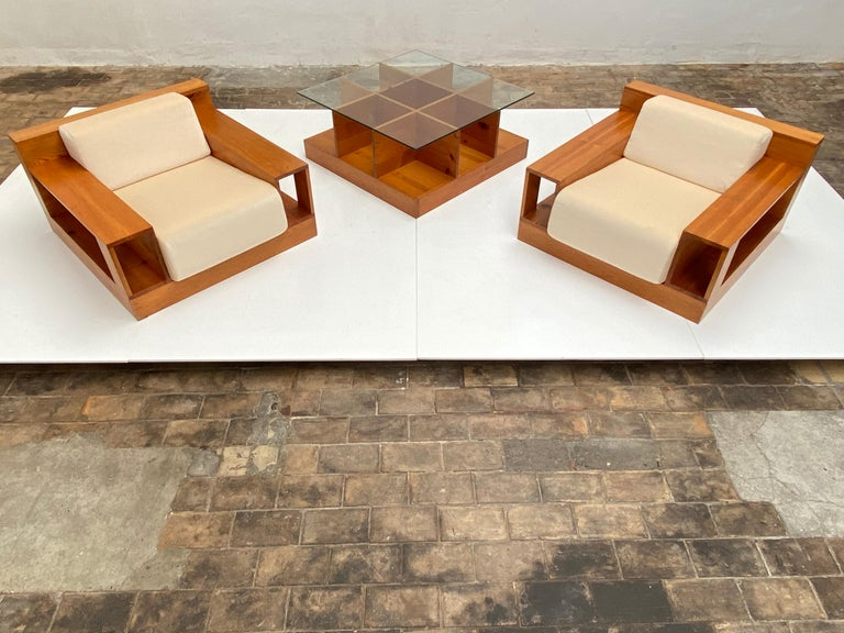 Pinewood and Mohair Lounge Chairs and Table by Gianfranco Fini, Poltronova, 1974 2