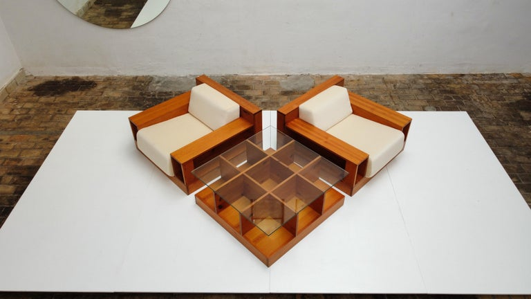 Pinewood and Mohair Lounge Chairs and Table by Gianfranco Fini, Poltronova, 1974 3