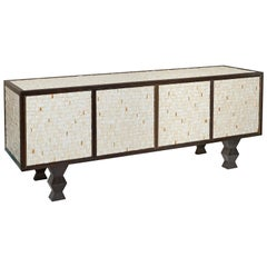 Pinewood Sideboard Veneered with a Mosaic of Earthenware by WH Studio