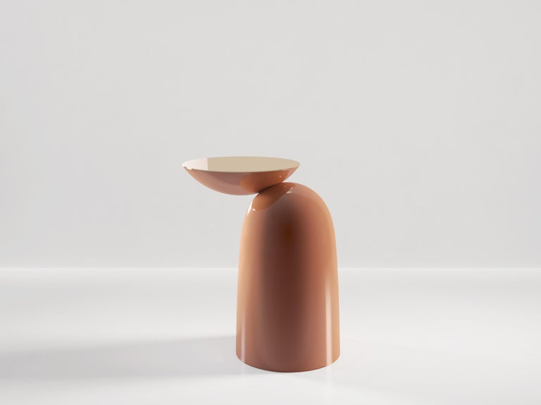 Italian Pingu Contemporary Side Table in Wood and Metal Top by Artefatto Design Studio For Sale