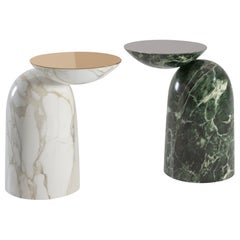 Pingu X Contemporary Side Table in Marble and Metal by Artefatto Design Studio