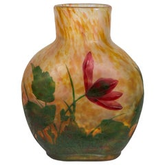 Pinhass Collection a Fine Daum Nancy Wheel-Carved Cameo Glass Vase