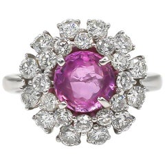 Pink 2 Carat Sapphire Ring With 1.64 Carat Diamonds