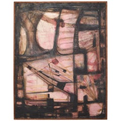 Pink Abstract Oil Painting by Miguel Alvarez Acosta Ambassador Mexican Modernism