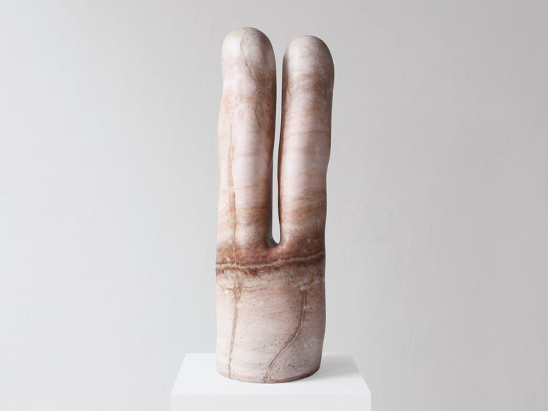 This stunning hand carved pink alabaster sculpture is by Oregon-based artist Julian Watts. Currently on view at our gallery, Patrick Parrish Gallery.