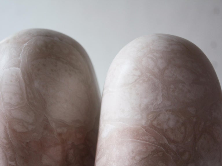 Hand-Carved Pink Alabaster Sculpture by Julian Watts For Sale