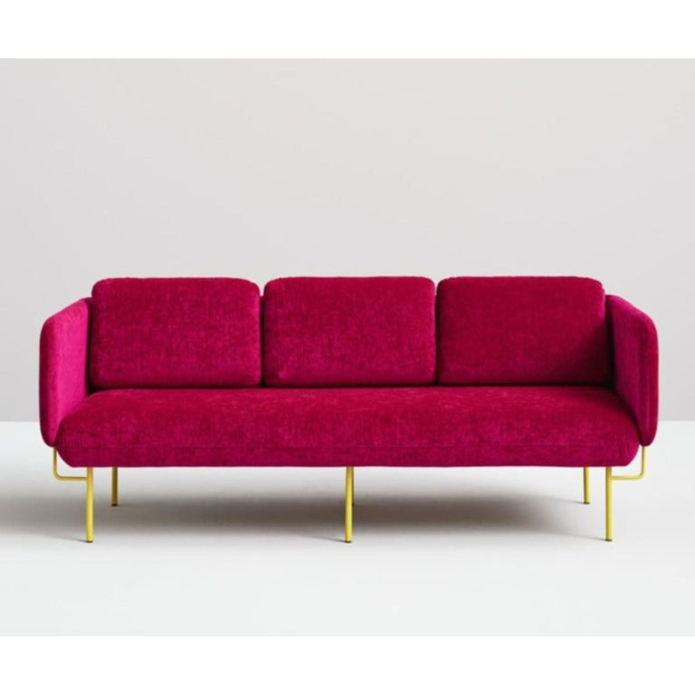 Pink Alce sofa - Small by Chris Hardy Dimensions: W166, D88, H82, seat45 (2 Seaters) Materials: Iron structure and MDF board Painted or chromed legs Foam CMHR (high resilience and flame retardant) for all our cushion filling