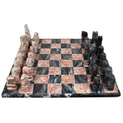 Pink and Black Carved Italian Stone Marble Chess Set