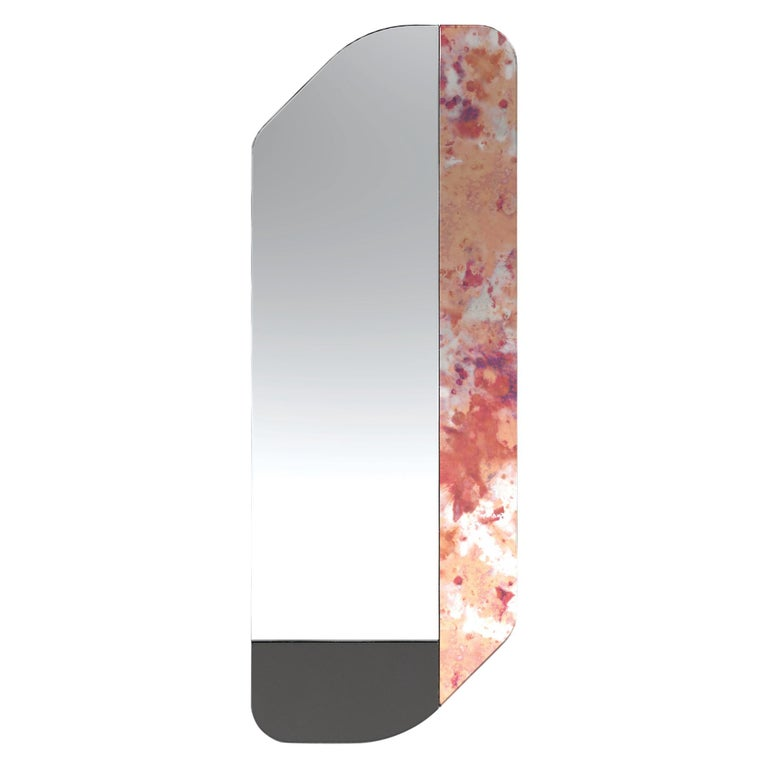 Pink and Black WG.C1.D Hand-Crafted Wall Mirror For Sale