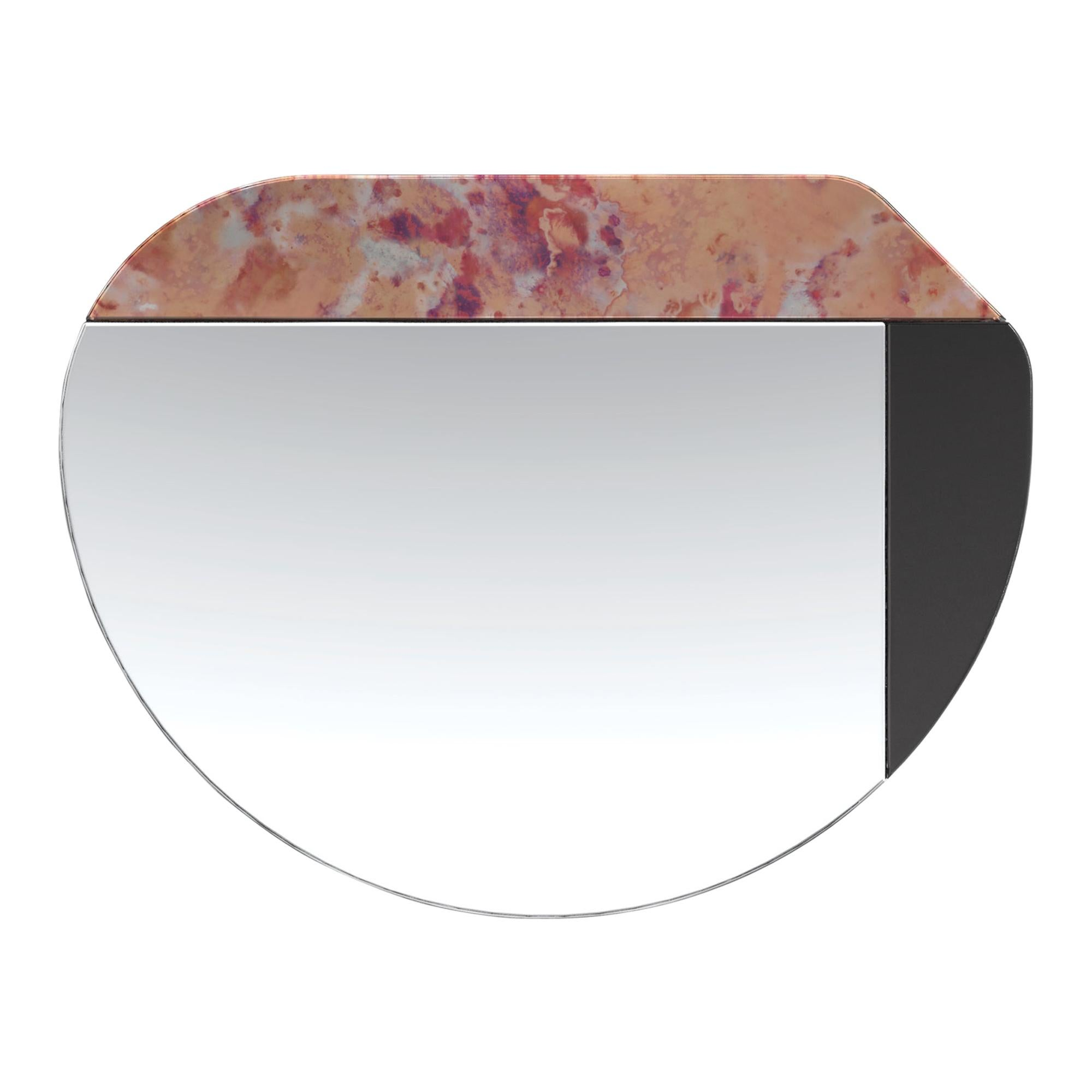 Pink and Black WG.C1.E Hand-Crafted Wall Mirror
