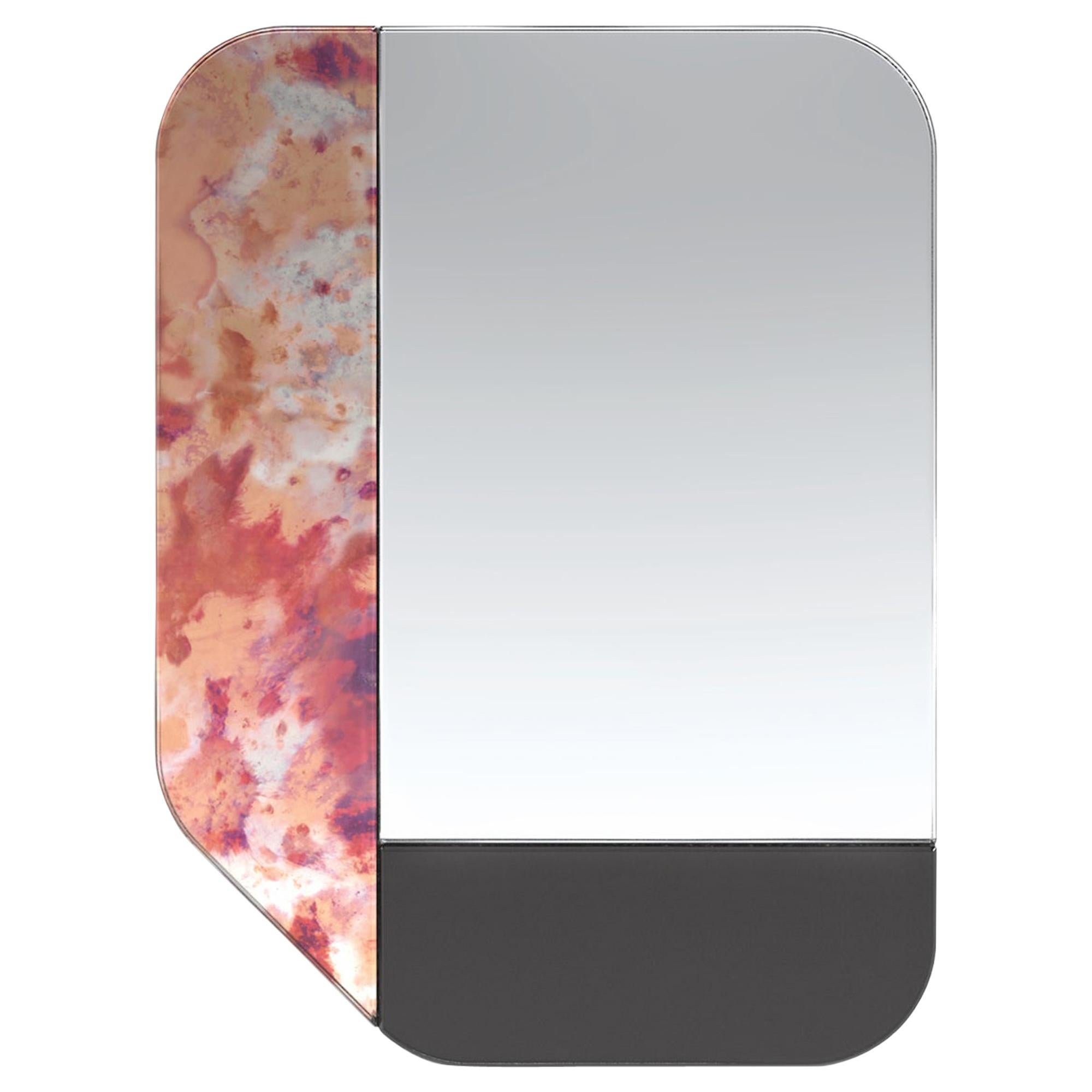 Pink and Black WG.C1.F Hand-Crafted Wall Mirror