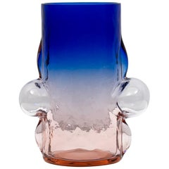 Pink and Blue Blown Glass Vase by Toni Zuccheri for VeArt, 1988