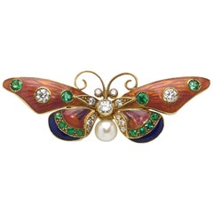 Pink and Blue Enamel Pearl Emerald Diamond Gold Butterfly Brooch