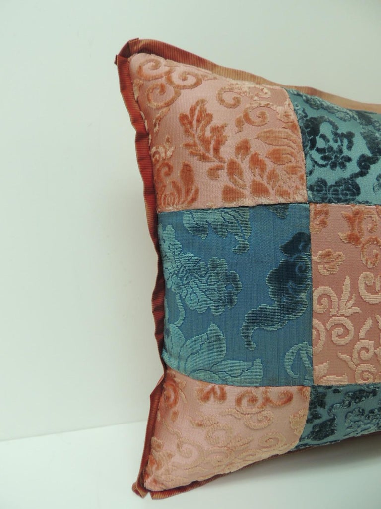 Pink and blue romance through the Gilded Age's Asian textiles patchwork Lumbar pillow decorative pillow handcrafted from two Asian antique textiles combining floral silk cut velvet gaufrage in pink with chrysanthemums motifs and blue clouds. Late