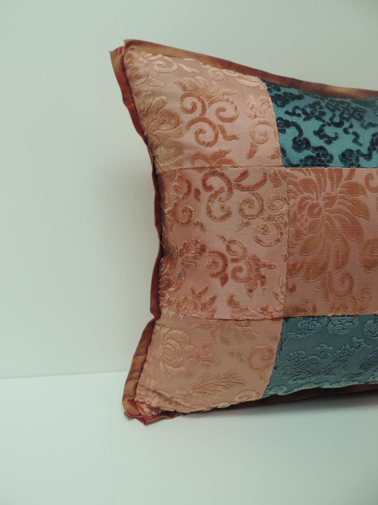 Pink and blue Romance through the Gilded Age's Asian textiles patchwork lumbar pillow