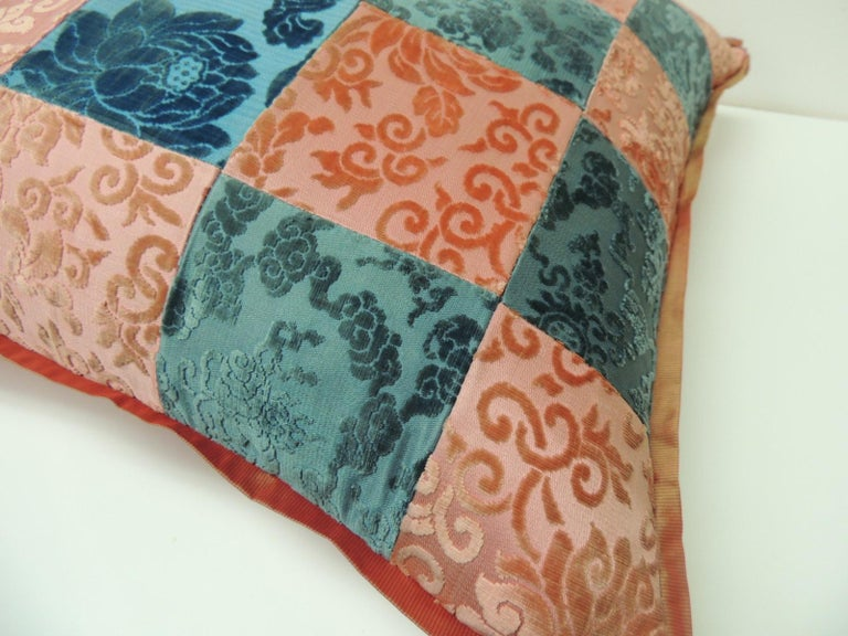 Victorian Pink and Blue Romance Through the Gilded Age's Asian Textiles Patchwork Pillow For Sale