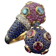 Pink and Blue Sapphire 18 Karat Gold Cocktail Ring