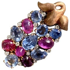 Pink and Blue Sapphire and Diamond 18 Karat Gold and Platinum Brooch