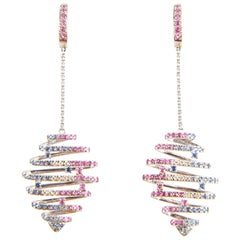 Pink and Blue Sapphire and Diamond 18 Karat White Gold Spiral Drop Earrings
