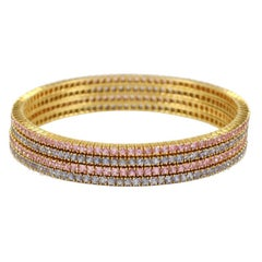Pink and Blue Sapphire Bangles
