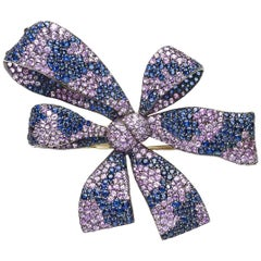 Pink and Blue Sapphire Bow Brooch