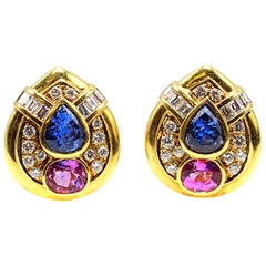 Pink and Blue Sapphire Diamond 18 Karat Gold Teardrop Ear Clips