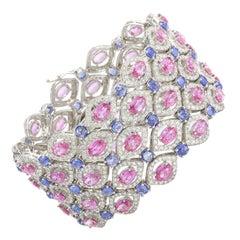 Pink and Blue Sapphire Diamond Bracelet 18 Karat Gold